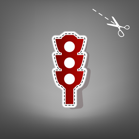 Traffic light sign. Vector. Red icon with for applique from paper with shadow on gray background with scissors.