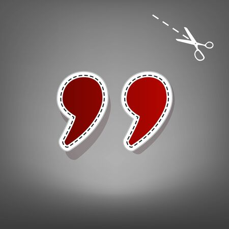 Quote sign illustration. Vector. Red icon with for applique from paper with shadow on gray background with scissors. Stock Photo