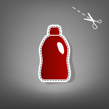 Plastic bottle for cleaning. Vector. Red icon with for applique from paper with shadow on gray background with scissors.