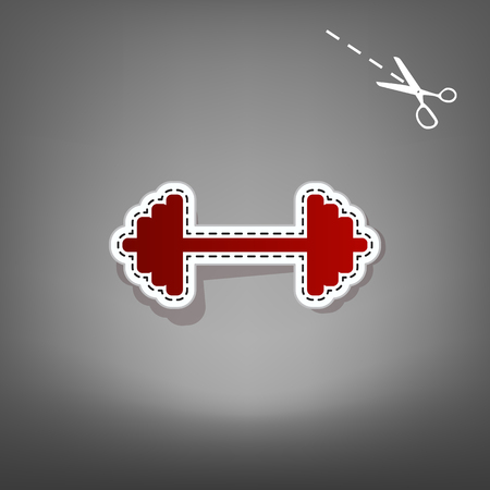 Dumbbell weights sign. Vector. Red icon with for applique from paper with shadow on gray background with scissors.