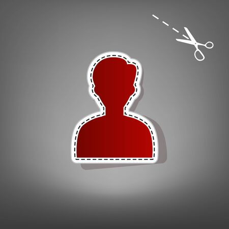 educacion sexual: User avatar illustration. Anonymous sign. Vector. Red icon with for applique from paper with shadow on gray background with scissors.