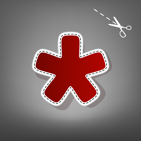 Asterisk star sign. Vector. Red icon with for applique from paper with shadow on gray background with scissors.