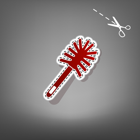Toilet brush doodle. Vector. Red icon with for applique from paper with shadow on gray background with scissors.