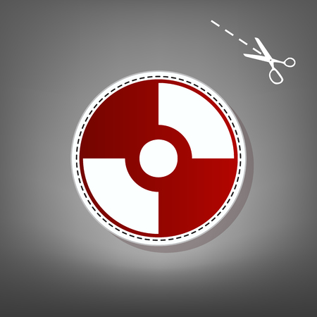 Vector CD or DVD sign. Vector. Red icon with for applique from paper with shadow on gray background with scissors. Illustration