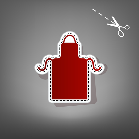 Apron simple sign. Vector. Red icon with for applique from paper with shadow on gray background with scissors.