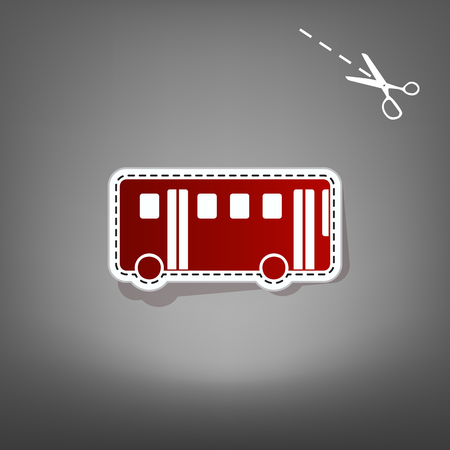 Bus simple sign. Vector. Red icon with for applique from paper with shadow on gray background with scissors. Illustration