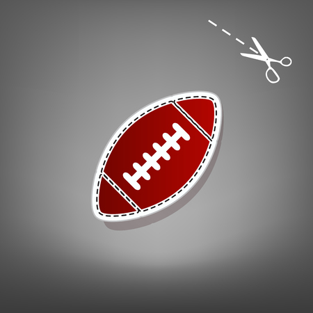 American simple football ball. Vector. Red icon with for applique from paper with shadow on gray background with scissors.