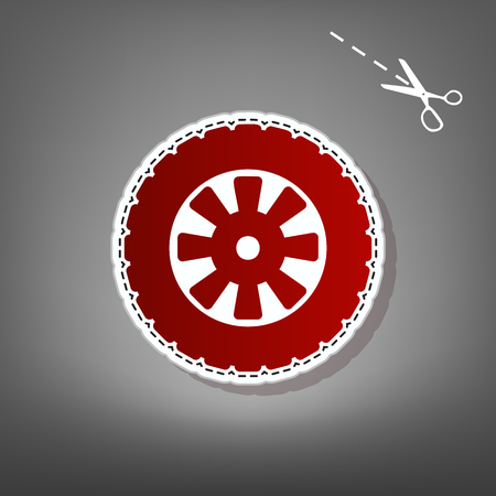 Road tire sign. Vector. Red icon with for applique from paper with shadow on gray background with scissors.