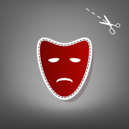 Tragedy theatrical masks. Vector. Red icon with for applique from paper with shadow on gray background with scissors.