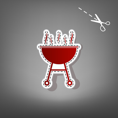 roasted: Barbecue simple sign. Vector. Red icon with for applique from paper with shadow on gray background with scissors. Illustration