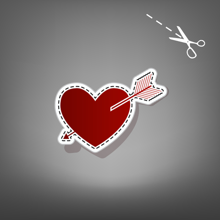 cor: Arrow heart sign. Vector. Red icon with for applique from paper with shadow on gray background with scissors. Illustration