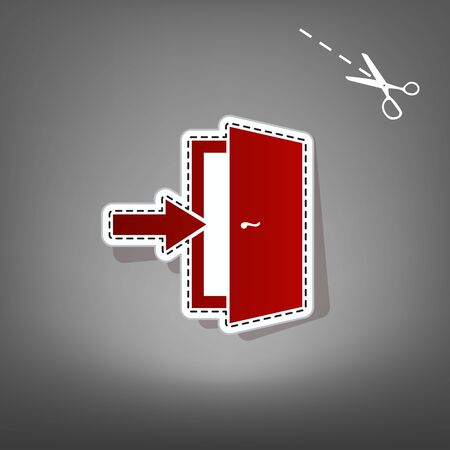 Door Exit sign. Vector. Red icon with for applique from paper with shadow on gray background with scissors. Illustration