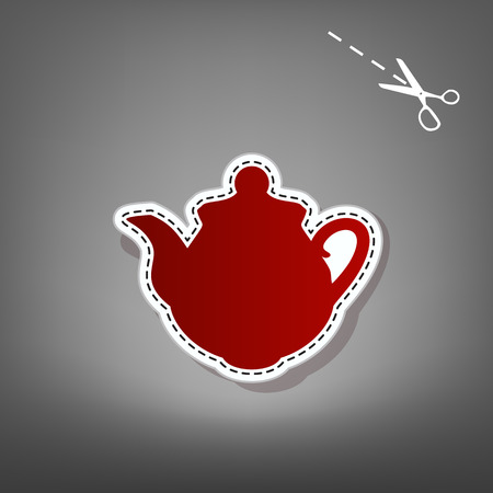 Tea maker Kitchen sign. Vector. Red icon with for applique from paper with shadow on gray background with scissors.