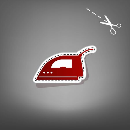 Smoothing Iron sign. Vector. Red icon with for applique from paper with shadow on gray background with scissors.