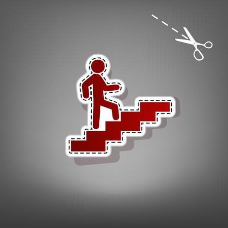 Homme sur les escaliers en remontant. Vecteur. Icône rouge avec des appliques de papier avec une ombre sur fond gris avec des ciseaux. Vecteurs