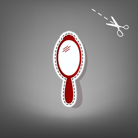 look in mirror: Hand Mirror sign. Vector. Red icon with for applique from paper with shadow on gray background with scissors.