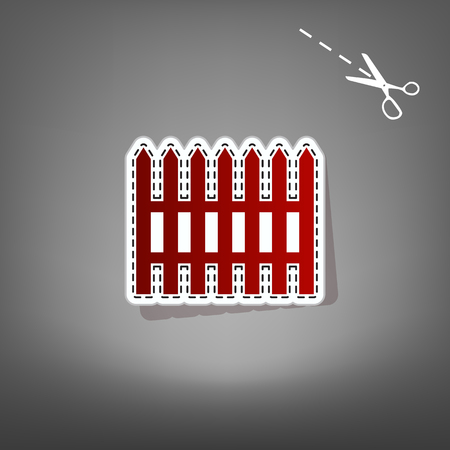 Fence simple sign. Vector. Red icon with for applique from paper with shadow on gray background with scissors. Illustration