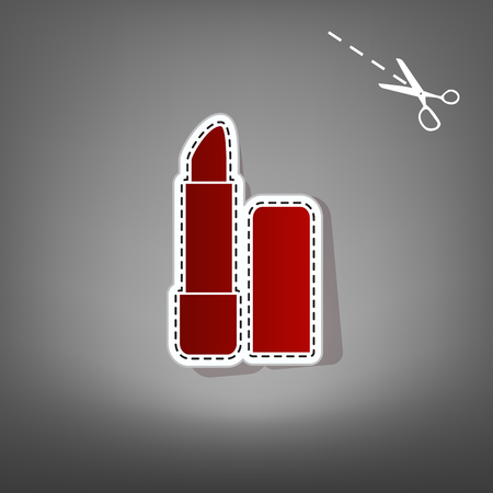 Pomade simple sign. Vector. Red icon with for applique from paper with shadow on gray background with scissors.