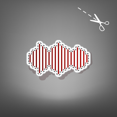 Sound waves icon. Vector. Red icon with for applique from paper with shadow on gray background with scissors.