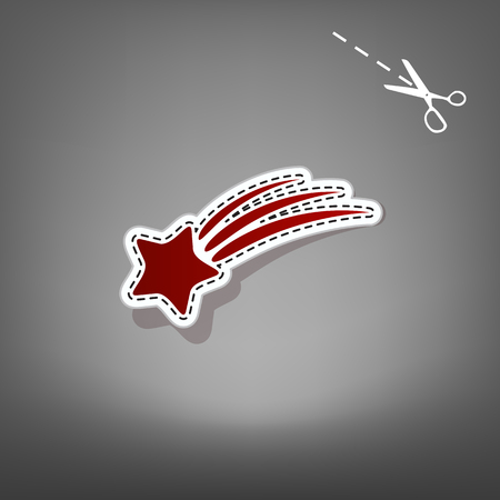 meteorite: Meteor shower sign. Vector. Red icon with for applique from paper with shadow on gray background with scissors.