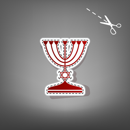 hannukah: Jewish Menorah candlestick in black silhouette. Vector. Red icon with for applique from paper with shadow on gray background with scissors.