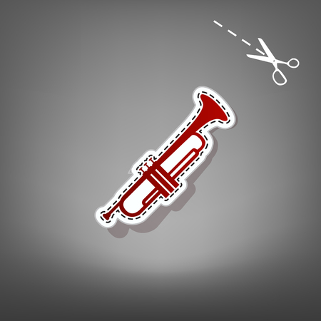 Musical instrument Trumpet sign. Vector. Red icon with for applique from paper with shadow on gray background with scissors. Illustration