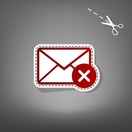 envelope: Mail sign illustration with cancel mark. Vector. Red icon with for applique from paper with shadow on gray background with scissors. Illustration