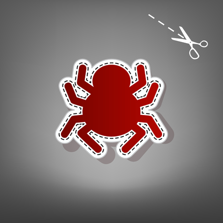 Spider sign illustration. Vector. Red icon with for applique from paper with shadow on gray background with scissors. Illustration