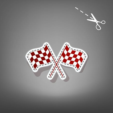 Crossed checkered flags waving in the wind conceptual of motor sport. Vector. Red icon with for applique from paper with shadow on gray background with scissors.