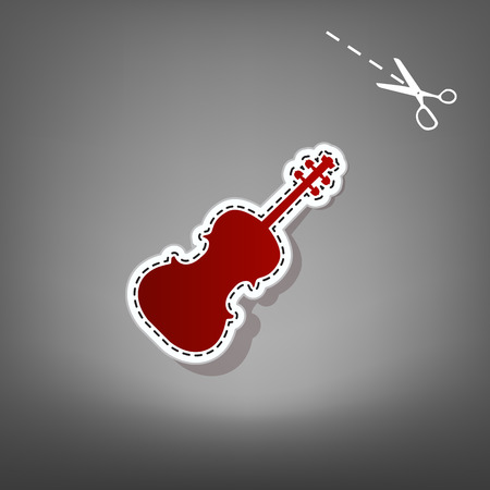 red sound: Violine sign illustration. Vector. Red icon with for applique from paper with shadow on gray background with scissors.