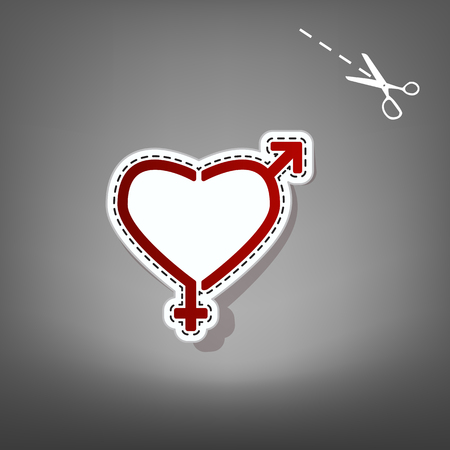 Gender signs in heart shape. Vector. Red icon with for applique from paper with shadow on gray background with scissors.