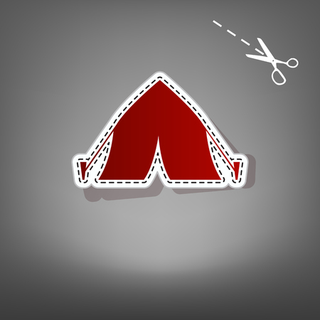 Tourist tent sign. Vector. Red icon with for applique from paper with shadow on gray background with scissors.