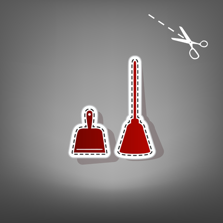 Dustpan vector sign. Scoop for cleaning garbage housework dustpan equipment. Vector. Red icon with for applique from paper with shadow on gray background with scissors.