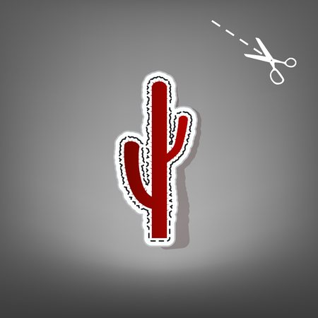 joshua: Cactus simple sign. Vector. Red icon with for applique from paper with shadow on gray background with scissors.