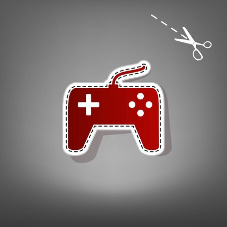 Joystick simple sign. Vector. Red icon with for applique from paper with shadow on gray background with scissors.