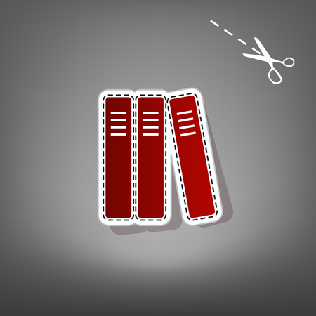 Row of binders, office folders icon. Vector. Red icon with for applique from paper with shadow on gray background with scissors.