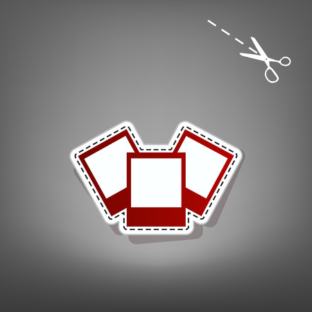 Photo sign illustration. Vector. Red icon with for applique from paper with shadow on gray background with scissors.