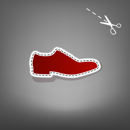 Men Shoes sign. Vector. Red icon with for applique from paper with shadow on gray background with scissors. Stock Photo