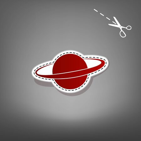 Planet in space sign. Vector. Red icon with for applique from paper with shadow on gray background with scissors.