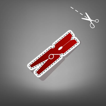 Clothes peg sign. Vector. Red icon with for applique from paper with shadow on gray background with scissors.