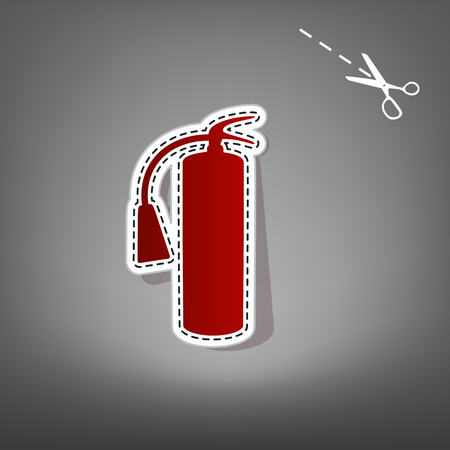 Fire extinguisher sign. Vector. Red icon with for applique from paper with shadow on gray background with scissors. Imagens