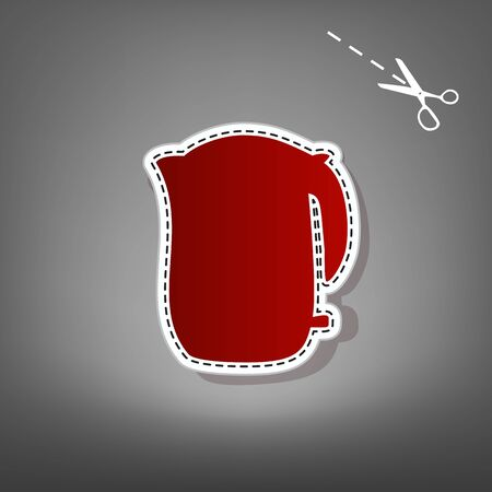 electric tea kettle: Electric kettle sign. Vector. Red icon with for applique from paper with shadow on gray background with scissors. Stock Photo