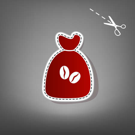 Coffee bag Icon. Coffee bag. Vector. Coffee bag Icon Button. Vector. Red icon with for applique from paper with shadow on gray background with scissors.