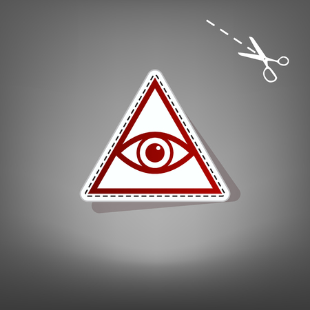 All seeing eye pyramid symbol. Freemason and spiritual. Vector. Red icon with for applique from paper with shadow on gray background with scissors.