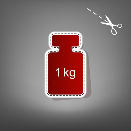 iron: Weight simple sign. Vector. Red icon with for applique from paper with shadow on gray background with scissors.