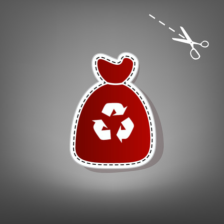 food waste: Trash bag icon. Vector. Red icon with for applique from paper with shadow on gray background with scissors. Illustration