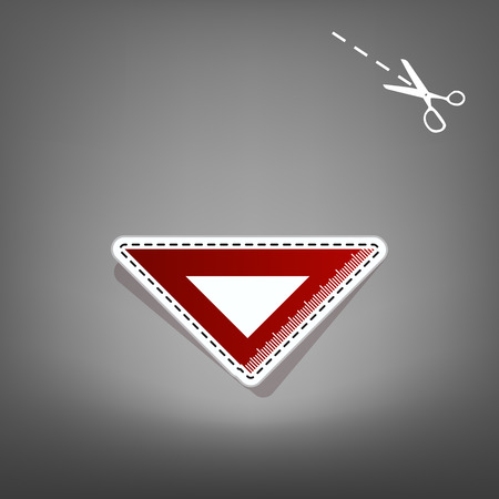 scale icon: Ruler sign illustration. Vector. Red icon with for applique from paper with shadow on gray background with scissors.