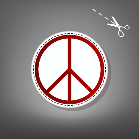 Peace sign illustration. Vector. Red icon with for applique from paper with shadow on gray background with scissors.