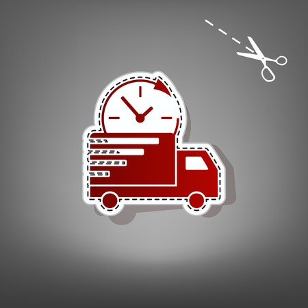 semitruck: Delivery sign illustration. Vector. Red icon with for applique from paper with shadow on gray background with scissors.