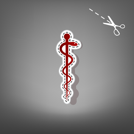 Symbol of the Medicine. Vector. Red icon with for applique from paper with shadow on gray background with scissors.